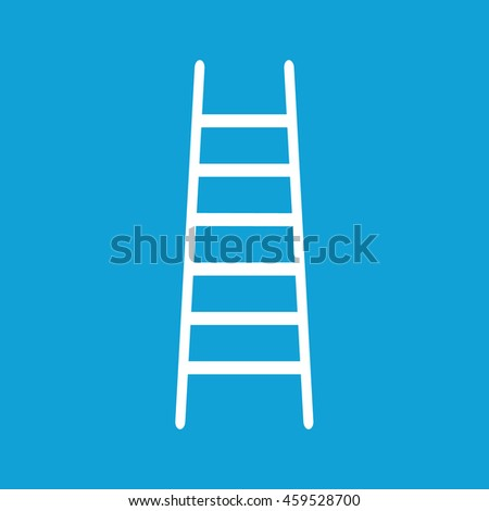 White ladder icon vector. Blue background