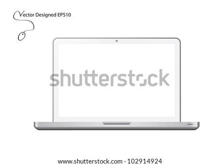 White Laptop - Vector Designed EPS10 - stock vector