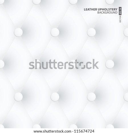 White Leather Upholstery Background design - stock vector