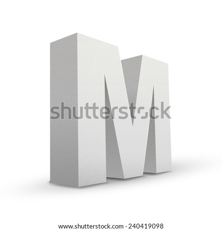 white letter M isolated on white background