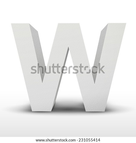 white letter W isolated on white background