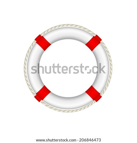 White life buoy with rope around