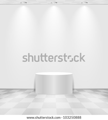 White lightened room with round stage and checked floor - stock vector