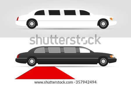 White limo and black limousine with red carpet