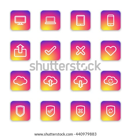 white line web icon set on colorful smooth gradient rounded rectangle with shadow for web design, user interface (UI), infographic and mobile application (apps)