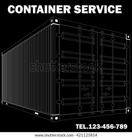 White lined pattern of container cargo in vector style.