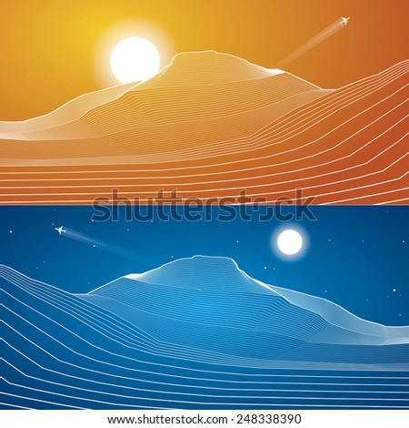 White lines, sand dunes, mountains, desert, abstraction composition, vector design background - stock vector