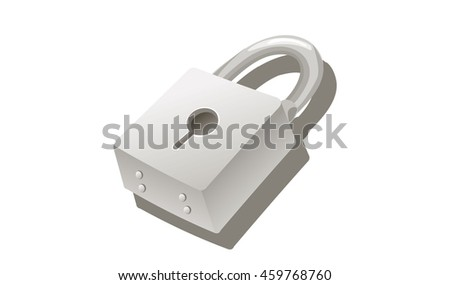 white lock with 3D view with shadows - stock vector