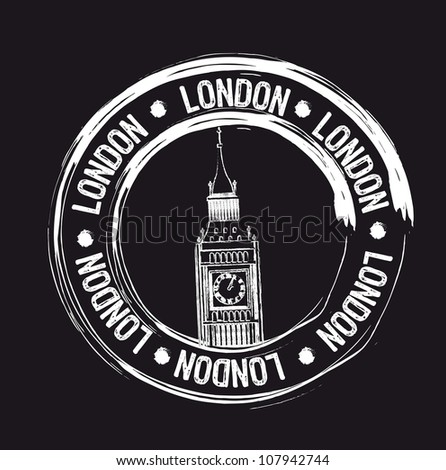 white london grunge stamp over black background. vector - stock vector