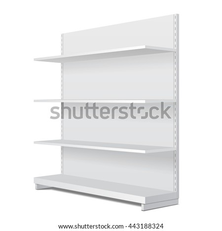 White Long Blank Empty Showcase Display With Retail Shelves. Perspective View 3D. Illustration Isolated On White Background. Mock Up Template Ready For Your Design. Product Advertising. Vector EPS10
