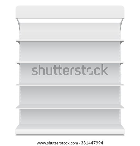 White Long Blank Empty Showcase Displays With Retail Shelves Front View 3D Products On White Background Isolated. Ready For Your Design. Product Packing. Vector EPS10 - stock vector