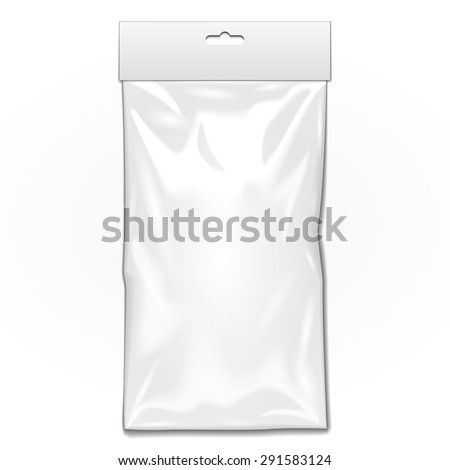 White Long Blank Plastic Pocket Bag. Transparent. With Hang Slot. Illustration Isolated On White Background. Mock Up Template Ready For Your Design. Vector EPS10 - stock vector
