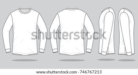 White Long Sleeve T Shirt Template Stock Vector Shutterstock - Long sleeve t shirt template