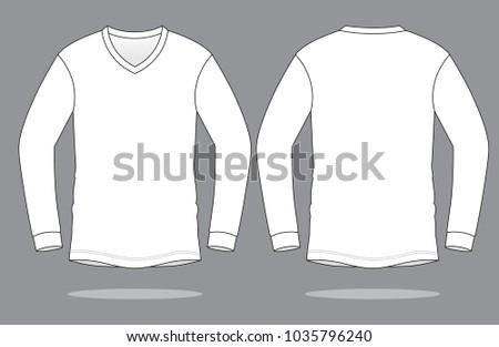 White Long Sleeve V Neck T Shirt Stock Vector 1035796240 - Shutterstock