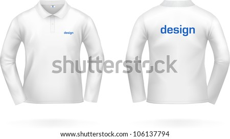 White long-sleeved T-SHIRT. VECTOR, painted with love to details. See more apparel designs in my portfolio! - stock vector