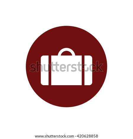 White luggage symbol icon vector. Red circle. Red button - stock vector