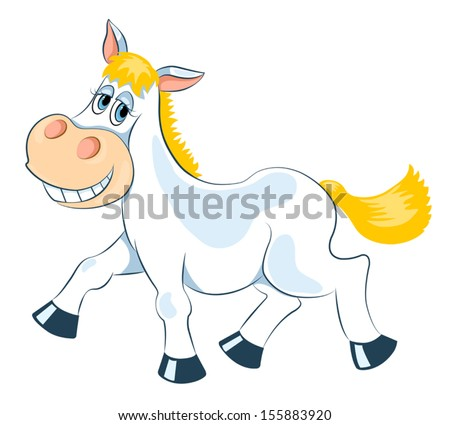 White mad horse. Isolated on white. Vector cartoon illustration. - stock vector