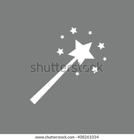 White magic wand vector illustration. Gray background