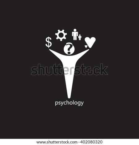 White man black background for psychology logo design - stock vector