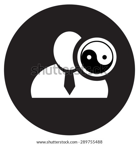 White man silhouette icon with yin yang symbol in black circle, flat design icon for forums or web - stock vector