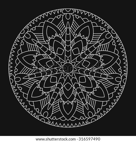 White mandala on black background. Element of the ornament in East style.