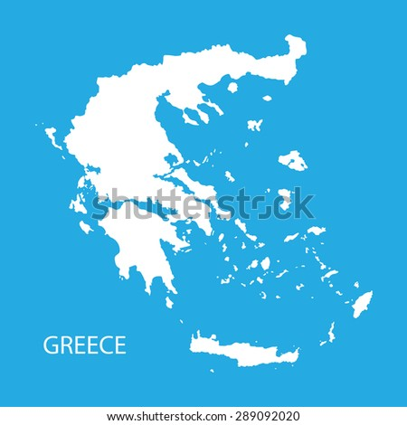 white map of Greece - stock vector