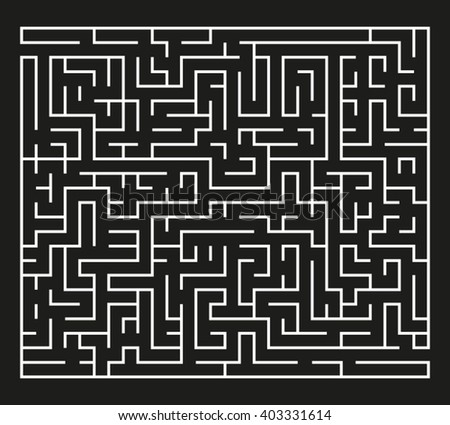 White Maze on Black Background - stock vector