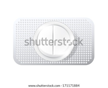 White medical pill in the package. Vector - stock vector