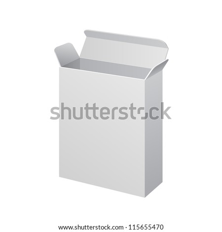White Medicine Drugs Cardboard, Carton Package Box Open On White Background Isolated. Ready For Your Design. Product Packing Vector EPS10 - stock vector