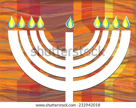 White menorah candlestick flame. Vector flat illustration for Hanukkah, Jewish holiday. Cut paper stile. Abstract painted bright background. Vector illustration. EPS 10. Image contains transparency. - stock vector