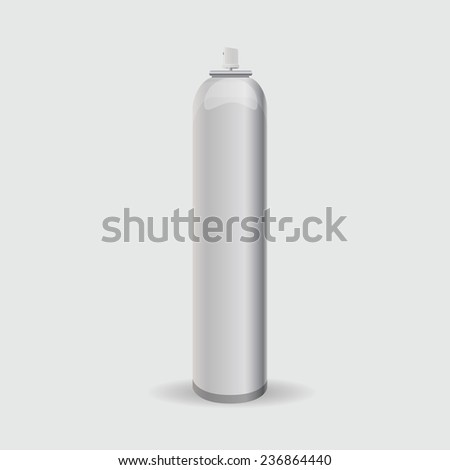 White metal bottle for a deodorant with a spray - stock vector
