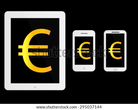 White Mobile Devices with Euro Sign - stock vector