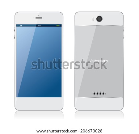 White mobile phone - stock vector