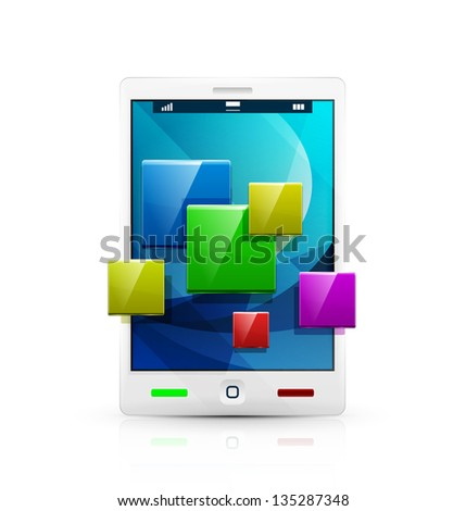 White mobile phone / tablet and application concept icon - stock vector