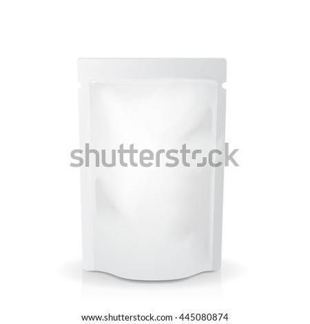 White mock up blank foil food or drink doypack bag packaging. pack template - stock vector
