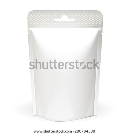 White Mock Up Blank Foil Food Or Drink Doypack Bag Packaging. Plastic Pack Template On White Background Isolated. Ready For Your Design. Vector EPS10  - stock vector