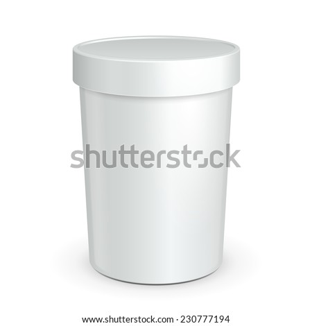 White Mock Up Bucket Tub Food Plastic Container For Dessert, Yogurt, Ice Cream, Sour Cream Or Snack. Ready For Your Design. Product Packing Vector EPS10  - stock vector
