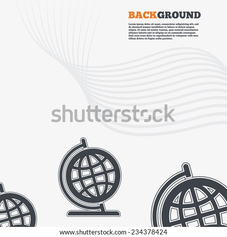 White modern background. Globe sign icon. Geography symbol. Globe on stand for studying. Outline signs with curved lines. Vector - stock vector