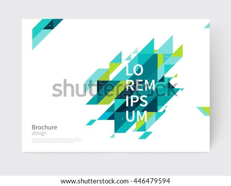 White modern business brochure/ leaflet, flyer, cover template. Abstract diagonal background blue and green lines. stock-vector EPS 10