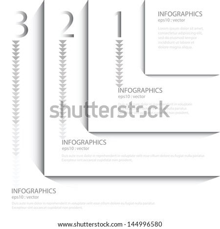White Modern Design template ; can be used for infographics ; numbered banners ; horizontal cutout lines ; graphic or website layout vector - stock vector