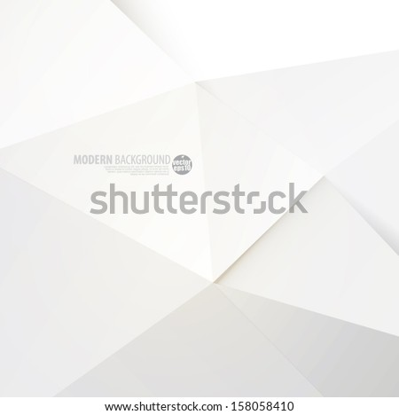 White modern polygon background, vector illustration - stock vector