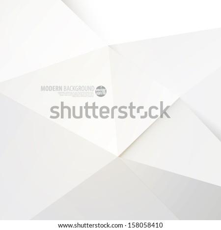 White modern polygon background, vector illustration - stock vector