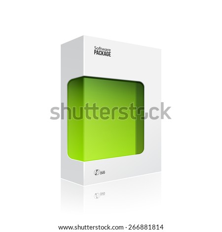 White Modern Software Product Package Box With Green Window For DVD Or CD Disk EPS10 - stock vector
