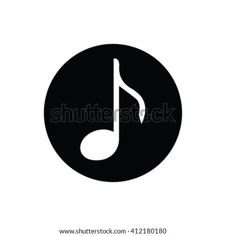White music note vector icon.  - stock vector