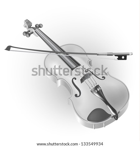White musical background series. Classical violin, isolated on white background. Vector illustration - stock vector