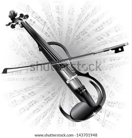 White musical background series. Electric violin, isolated on white background with musical notes - stock vector