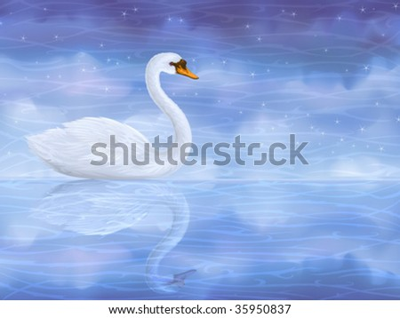 White mute swan reflecting in clear blue water (other landscapes are in my gallery)
