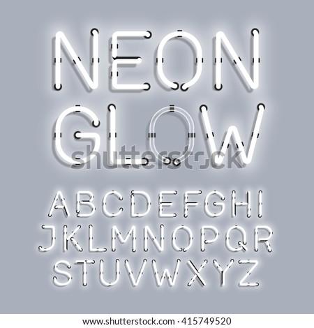 White Neon Glow alphabet vector illustration - stock vector