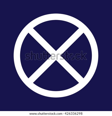 White no parking icon vector sign. Blue background - stock vector