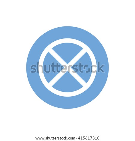 White no parking vector sign. Blue circle. Blue button - stock vector